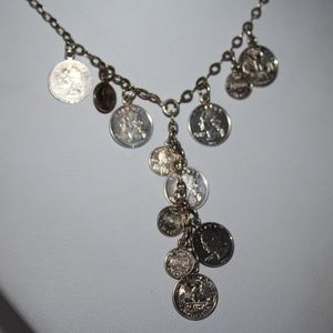 Sterling silver US coin necklace